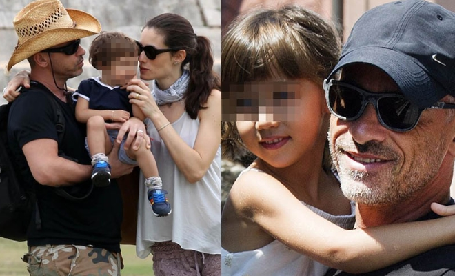 Eros Ramazzotti and Marica with their son and daughter