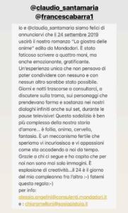 Francesca Barra e Claudio Santamaria messaggio